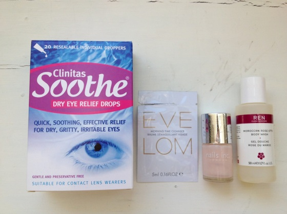 L-R: Clinitas Soothe Dry Eye Relief Drops, Eve Lom Morning Time Cleanser, Nails Inc Elizabeth Street, Ren Moroccan Rose Otto Body Wash