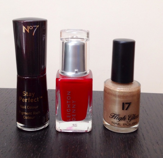 L-R: No7 Stay Perfect Nail Colour in Temptress, Leighton Denny Nail Colour in Provocative, 17 High Gloss Nail Polish in Sphinx